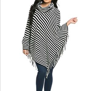 Tops - NWOT black and white striped poncho.